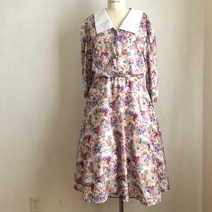 Vintage floral dress 1970's blush roses romantic L